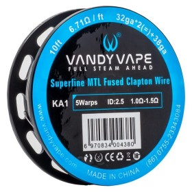- SUPERFINE MTL FUSED CLAPTON KA1 - 32ga*2+38ga - Vandy Vape