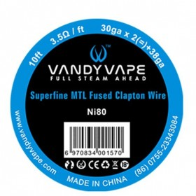 - SUPERFINE MTL FUSED CLAPTON Ni80 - 30ga*2+38ga - Vandy Vape